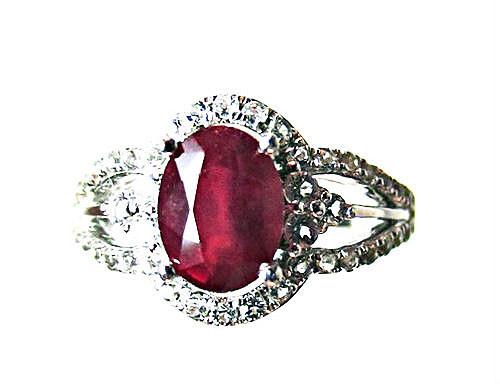 Designer Ruby and White Topaz Ring