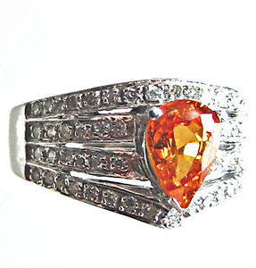 Mandarin Garnet and Diamond Gold Ring