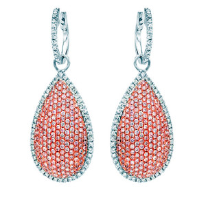 Argyle pink and white diamond earrings