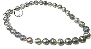 Silver Black Tahitian Pearls, unstrung.  Option to select your own clasp (Sterling Silver and 14KT included).  18KT and Platinum clasp incremental expense