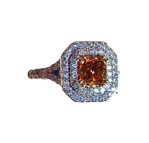 Fancy Brownish Orange and White Cocktail Ring