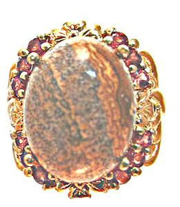 Jasper Picture and Mozambique Garnet Ring - KARIS Collection