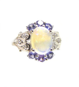 Australian Crystal Opal & Tanzanite Ring