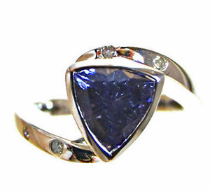 Tanzanite Trillion & Diamond Ring