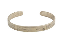 SALE Etched Silver Bangle