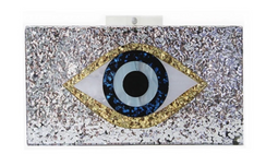 Evil Eye Clutch in Silver