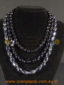 Beautiful black fashion necklace, multi stranded