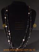 Beautiful black fashion necklace, multi beaded strands