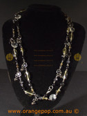 Beautiful black fashion necklace multi beaded strands
