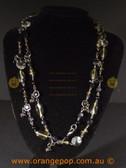 Beautiful black fashion necklace multi beaded strands