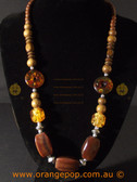 Amber and brown colour beaded fashion necklace
