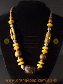Browns and yellows beaded fashion necklace