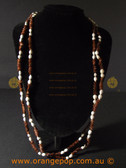 Brown shell look fashion necklace