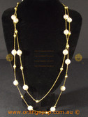 Fine gold colour necklace with pearl look beads