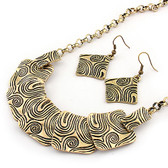 Abstract gold squares necklace