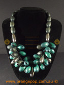 Modern mixed coloured wooden necklace