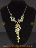 Mixed green beaded detailed necklace