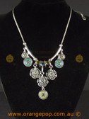 Floral detailed green and silver colour necklace