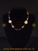 Gold, black and purple women's necklace