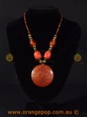 Large orange pendant women's necklace