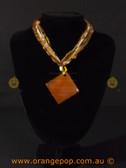 Orange square pendant women's necklace