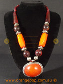 Chunky orange beads women's necklace