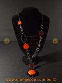 Retro orange and black women's necklace
