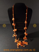 Fine orange beaded women's necklace