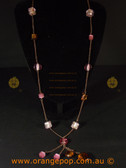 Long pink women's necklace