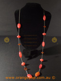 Long red detailed women's necklace