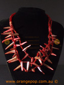 Shell red/maroon detailed women's necklace