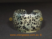 Black with white/cream animal printed women's cuff/bracelet