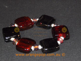 Black and maroon beaded bracelet