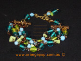 Blue and green beaded bracelet