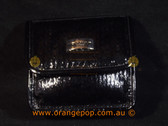 Napoleon Perdis Limited Edition Black snake print with mirror makeup bag purse