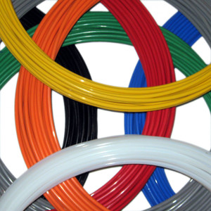 "1/4"" Teflon Tubing Colors Stocked are Black, Blue, Gray, Green, Orange, Natural (White), Red and Yellow"
