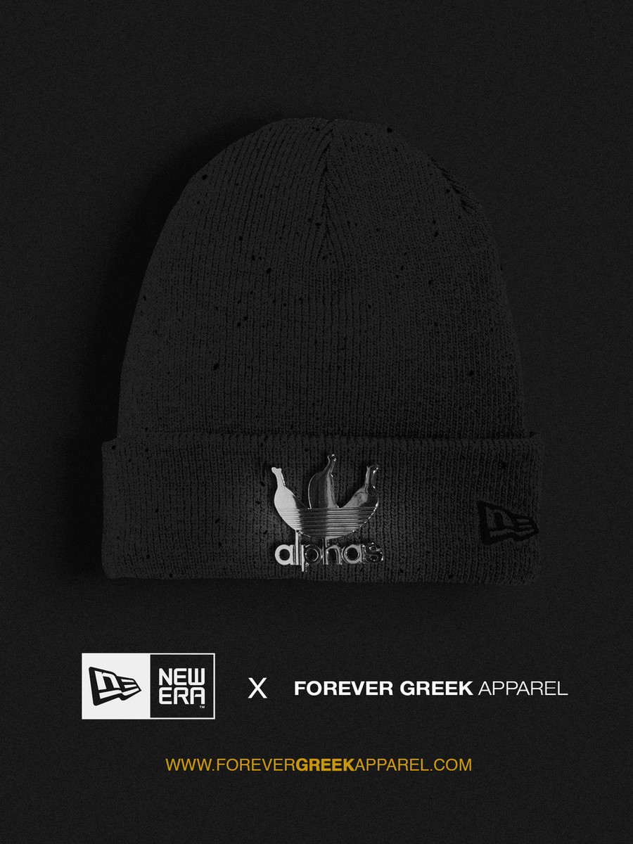 59fe5cea76f NEW ERA - GREY AND SILVER SPECKLED ALPHAS BEANIE - Forever Greek Apparel