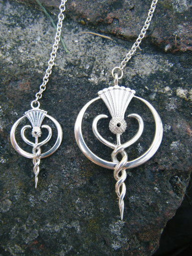 Findhorn Flower Essences large and small logo pendulums - made to order in both silver and gold