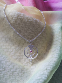 Ruby Gem Pendant in Silver
