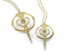 A Large Gold Thistle Logo Necklace
