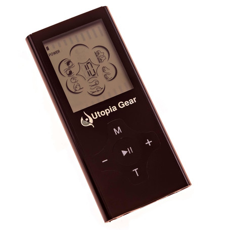 Utopia Pro 2.0 mini pulse stimulator.  This electronic TENS unit has 6 electrotherapy modes and the ability to run 4 pads simultaneously.  Comes equipped with a lithium ion battery.