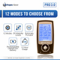 Utopia Pro 3.0 displaying the main features of the TENS unit.