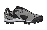 Under Armour Kids' UA Leadoff Low Jr RM Baseball Cleats Gray
