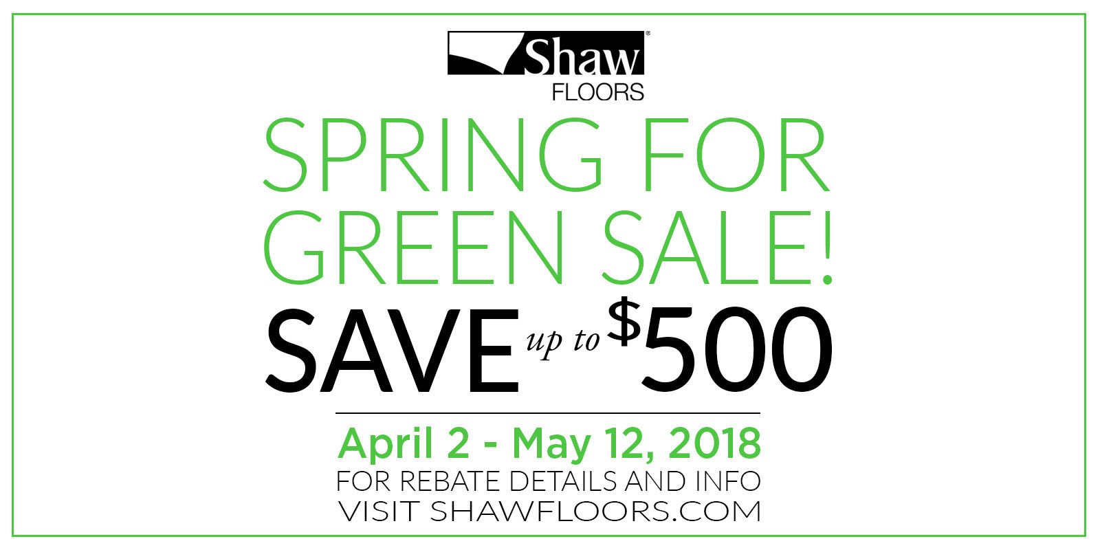 Shaw Floors Spring for Green Sale!
