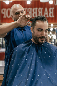 BARBER STRONG - The Barber Cape - Barber Shield Blue