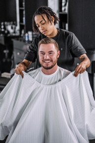 BARBER STRONG - The Barber Cape - White w/Black Pinstripe