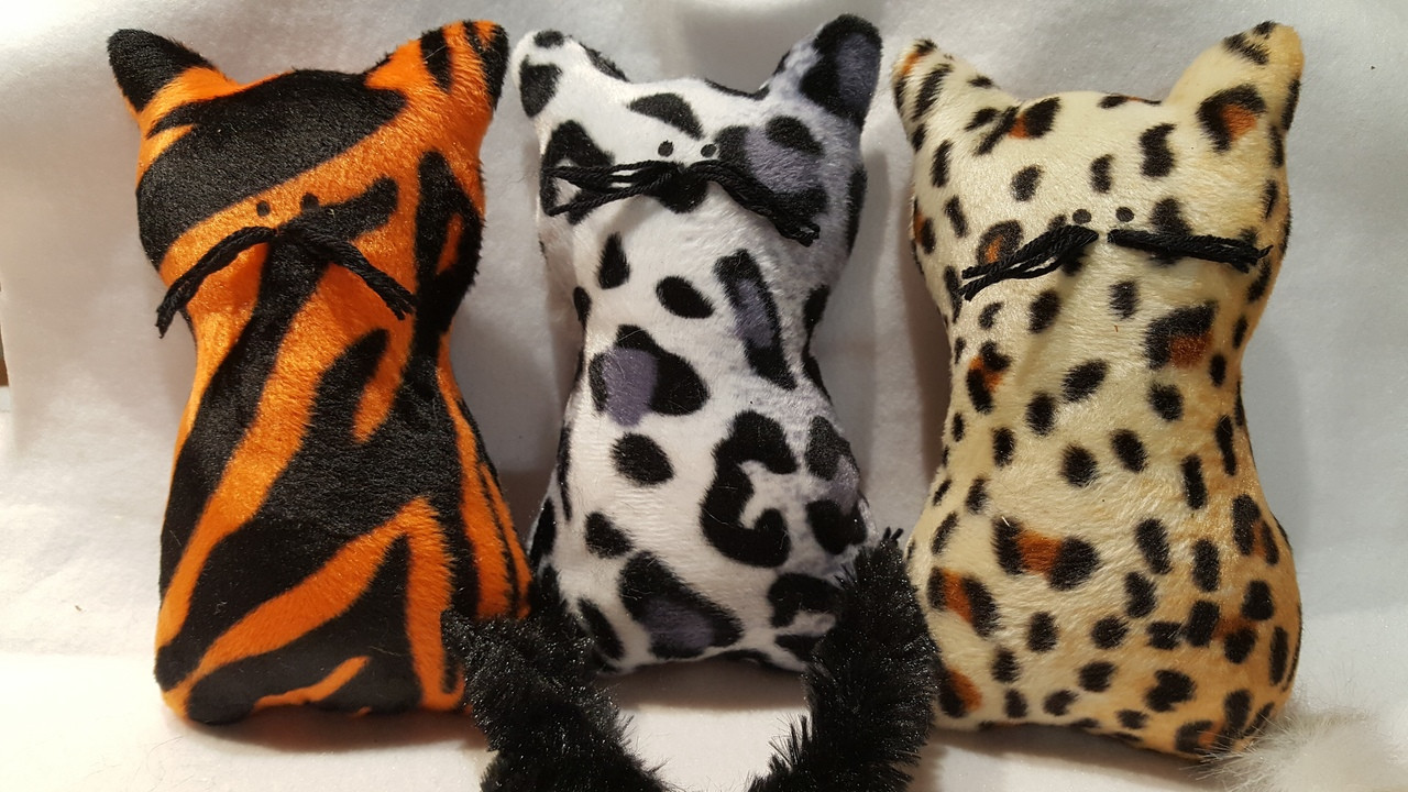 Adorable catnip filled Velboa Jungle Cubs with bushy tails....fun, fun, for your pet.