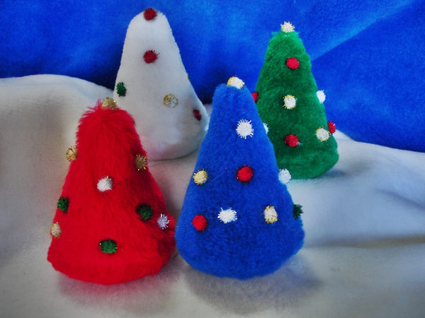 Many colored catnip Christmas Trees with pretty glitter pom ornaments!