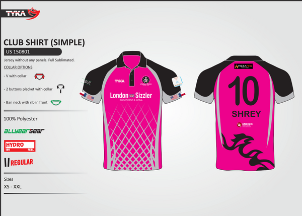 Hot Pink Full Sublimated Custom Shirt for a Cricket Team in Houston