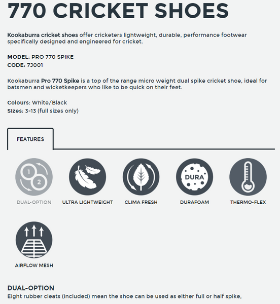 KB Pro 770 Spike Sole Cricket Shoes 2017 full details